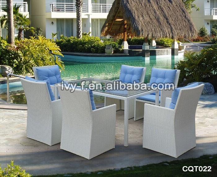 Mobili in vimini bianco/set di tavolo e sedia da pranzo ...