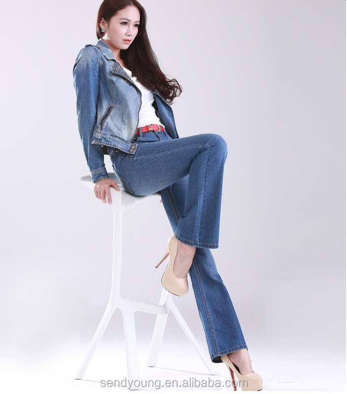 Huade best quality denim new model boot cut women jeans pants flare ladies jeans