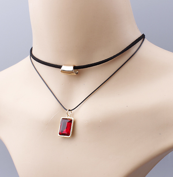 Elegant Shiny Diamante Pendant Rope Necklace Black Leather Layered Necklace Choker Neck Jewelries