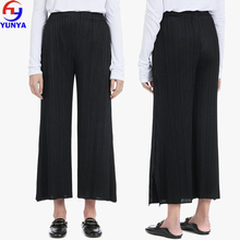 Lady fashion designs 100% polyester black elastic waist wide leg cropped length pleated trousers