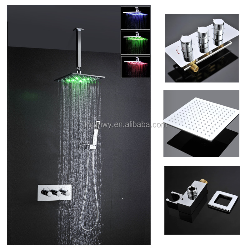 Bathroom In Wall Mounted Bath Faucet Mixer Rainfall Shower Set With 12 Inch(30cm)Brass Shower Head