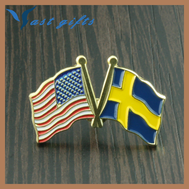 metal souvenir USA and Sweden country flag pin