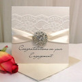 2015 Hot Sale Custom Lace Wedding Invitation Pearl Card
