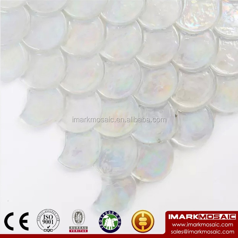 IMARK Clear Fish Scale Mosaic Tile/Iridescent Recycle Glass Mosaic/Swimming Pool Tiles