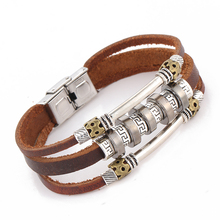 Braided men's pu leather bracelet