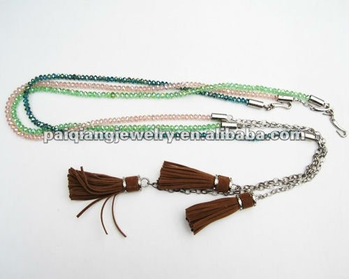 2015 latest design Unique Bling crystal beaded belts with Tassel Ending for women dress