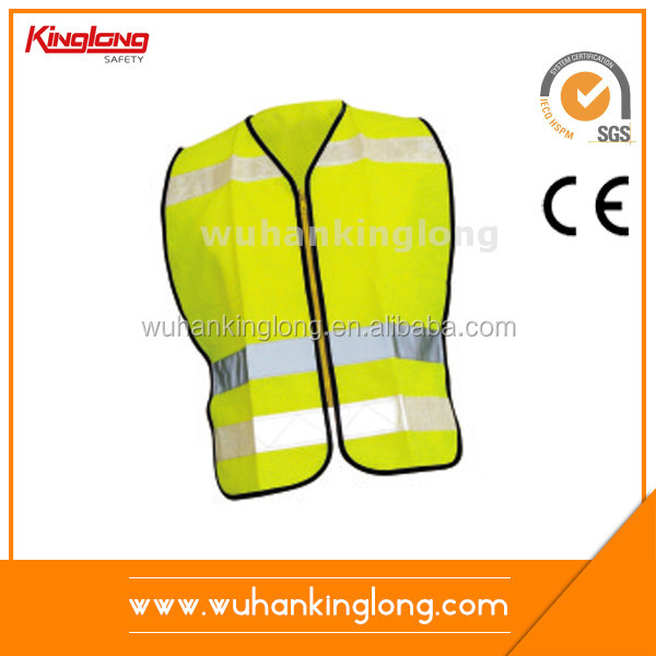 Fluorescent yellow reflective vest with PVC tapes Nylon Zipper