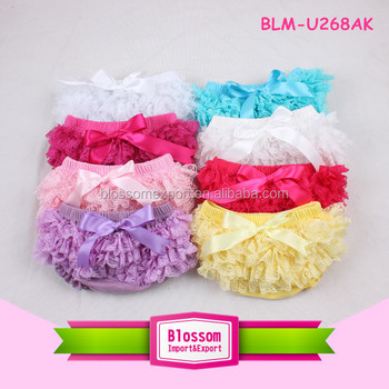 Summer wholesale underwear 4 layers lace ruffle bloomers solid color baby girl lace bloomers