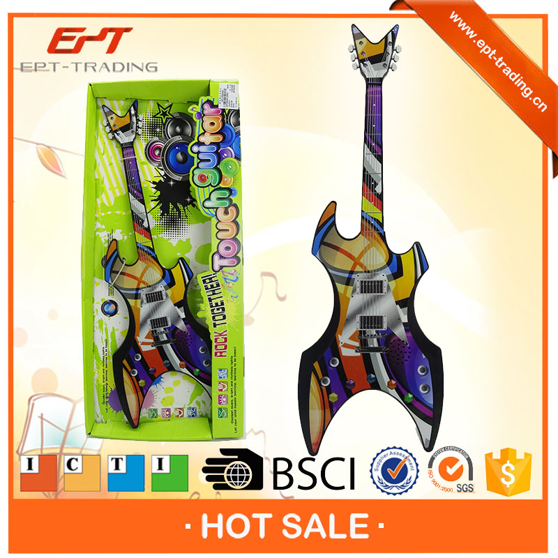 Electronic touching toy bass guitar with light and music