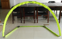 Steel/fiber glass arch foldable soccer goal-sleeve with netting syste