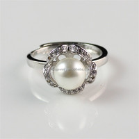 Import Jewelry From China Wholesale Fashion Fine Jewelry Flower Shape Silver Pearl Ring for Women