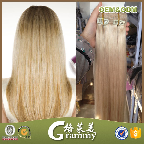 Top Quality Grade 7a Full Head Double Drawn Straight Blonde Brazilian Remy Human Hair 200 Grams Clip In Hair Extensions