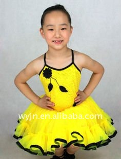 flower girl dresses for 7 age group-bright yellow girl's tutu