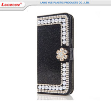 Luxury pearl credit card holder wallet leather case for iphone 6/7 6s plus 5s bling diamond wallet flip cases with kickstand