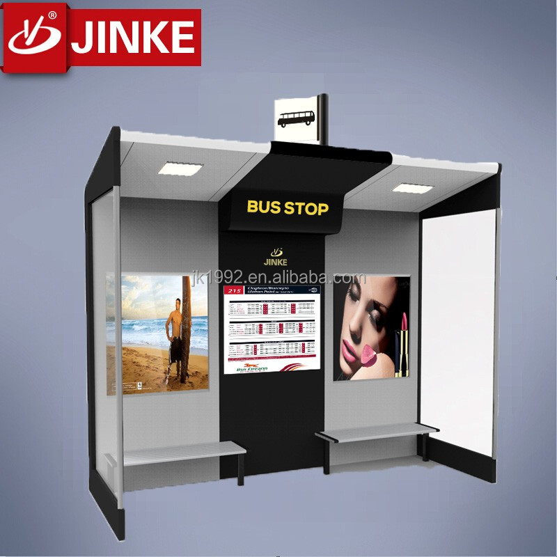 Urban outdoor solar power led ad tempered galss bus stop shelter
