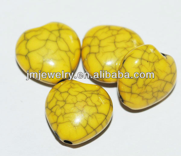 Yellow crack heart beads jewelry with fashion style design