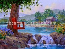 River Scenery Tree beside the River and Swing Oil Paintings