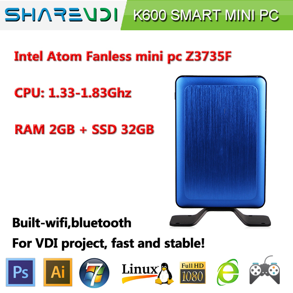 SHAREVDI fanless Intel Atom baytrail quad core Z3735 win8/win10 full 1080HD K600 for VDI