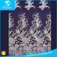 SPR-L070 textile fabric design net baroque lace african dress white mesh fabric