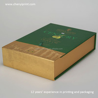 High-grade green book-shape olive oil gift box with pearl cotton and silk textiles