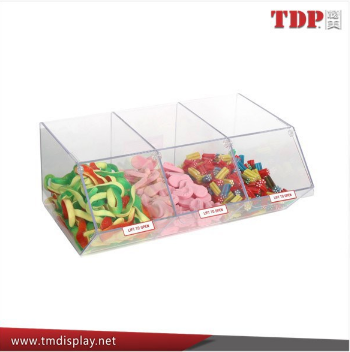 stackable bulk mini Clear Acrylic Candy Bin for Tabletop Use, 3 section/Compartments/Pretty Acrylic Candy Storage Box