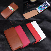 Genuine leather vertical flip case for iPhone 6 with card slots