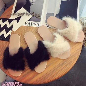 Women Lady 2017 New Style Shoe Faux Mink Fur Flat Rubber Sandals Slip On Open Toe Plush Pool Sliders Slippers