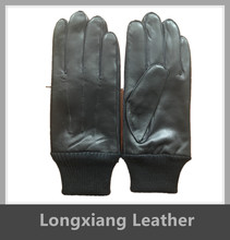 Men's Black Cheap Price Durable Leather Work Gloves With Knitted Rib