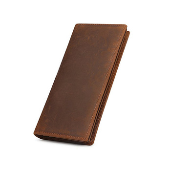 wb121 Natural Crazy Horse Leather Bifold Men Long Wallet