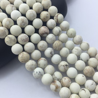 2.0 mm Large Hole Hot Selling Round Matte White Turquoise Gemstone Loose Beads Approximate 15.5 Inch