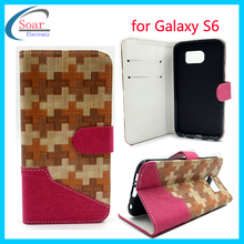Bamboo texture design pu leather wallet card holder flipcover case for Samsung Galaxy S6