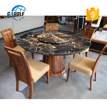 high quality good price big size modern black round dinning table set used dining room <strong>furniture</strong> for sale