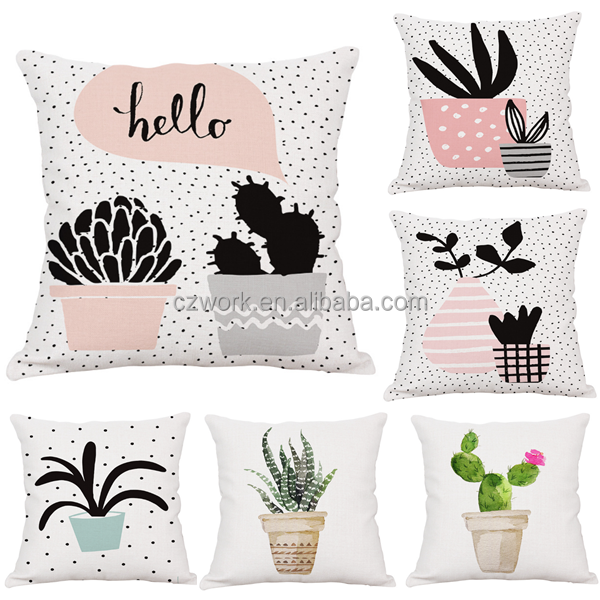 Watercolor cactus design cushion cover home decorative throw pillow case
