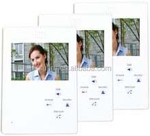plastic color 4.3 inch video door phone interfone for multi apartment and villa
