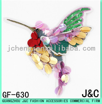 2017 The most popular color sequin embroidery patches birds for jeans