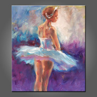 Hand painted beautiful lady dancer sex ballet girl dancing oil painting on canvas for wall decor with no frame acrylic