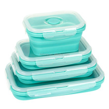 4 Pack Lunch Box Food Storage Containers Reusable BPA-Free Collapsible Silicone Bento Box