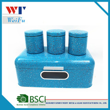 decorative design blue metal bread box and canister set
