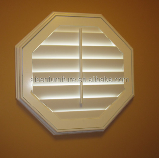 New octagon type window coverings wooden plantation shutters/ basswood louvers