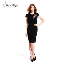 Maxnegio latest hand work beaded black formal high quality office dresses