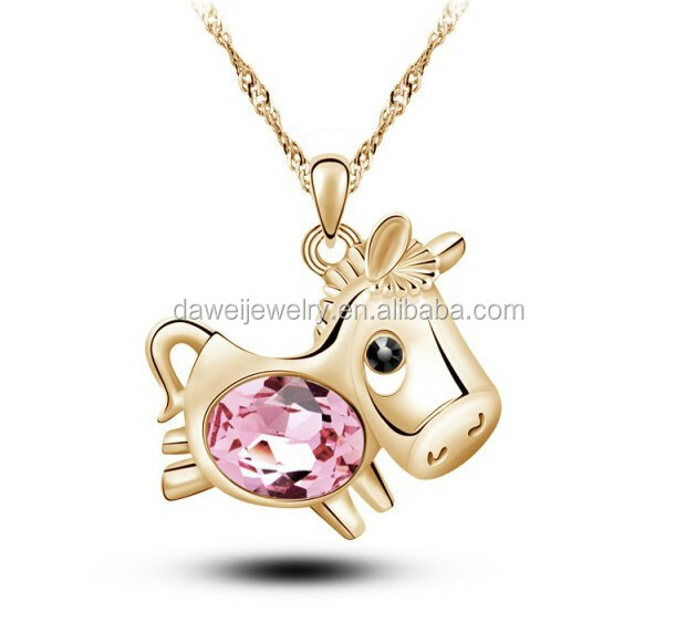 Gold plating smart horse pendant with big crystal necklace
