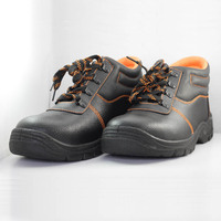 Middle cut CE S3 SRC cheapest emboss cow split leather steel toe cap safety shoes