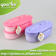Plastic Double Layer Sandwich Containers for Lunch Box with Cutlery