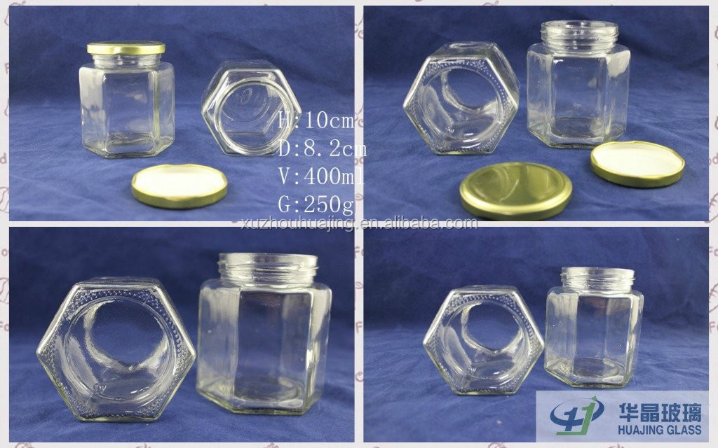400ml sealed hexagonal glass jar for jam honey with metal cap airtight glass bottle for kitchen storage with screw cap wholesale