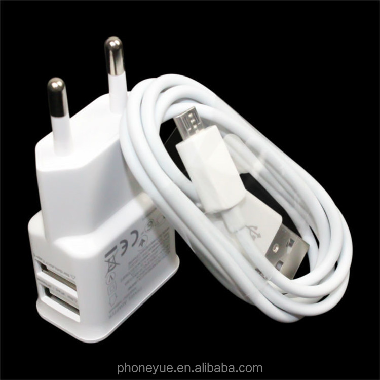 High Quality Multi Plug Dual Port EU Plug Wall Travel USB Charger With Data Cable