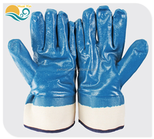 Spot wholesale blue nitrile Non-slip durable protective gloves oil resistant Acid and alkali welding safety gloves