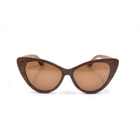 Cat eye wooden sunglasses with your own branded laser logo