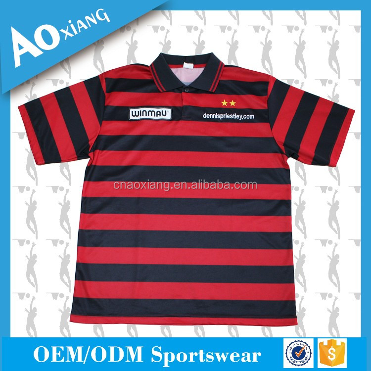 black and red stripe classic polo t-shirt with lttle embroidery logo