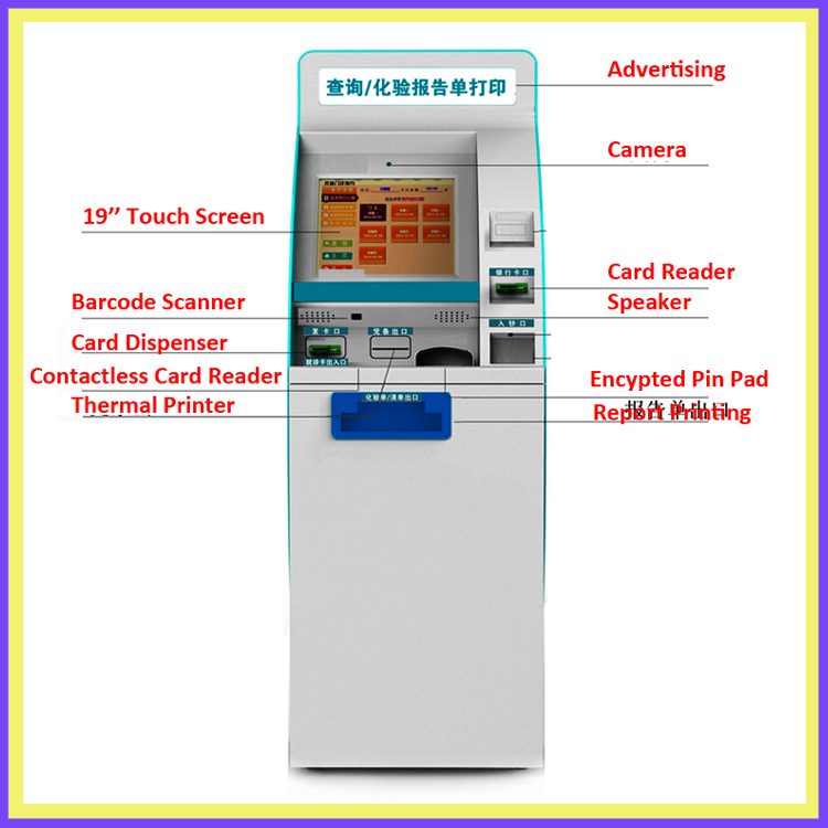 new hospital kiosk touchscreen with card reader laser printer OEM/ODM self service kiosk manufacturer
