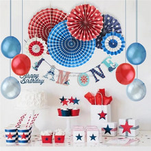 1st birthday party supplies I am one Banner ceiling decoration for parties with blue red